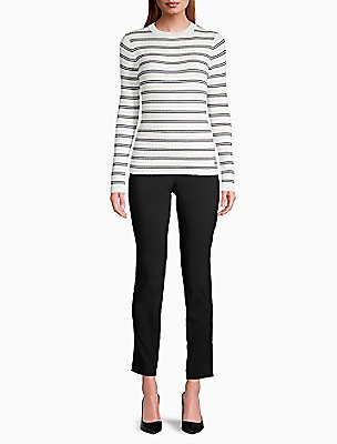 Striped Ribbed Knit Sweater   Calvin Klein
