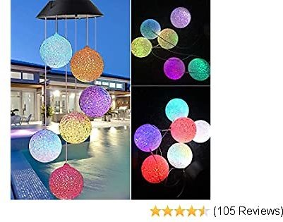 Garden Wind Chimes Outdoor, Color Changing