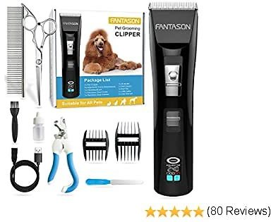 FANTASON Dog Clippers, Professional Pet Grooming Kit Low Noise Dog Hair Trimmer Set Cordless Rechargeable Heavy Duty Electric Shaver Clipper Tools with LCD Screen for Thick Coats Dogs Cats Pets