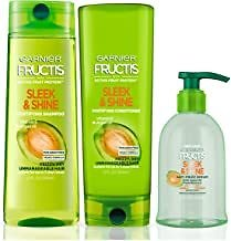 Garnier Fructis Sleek & Shine Shampoo, Conditioner & Anti-Frizz Serum, 5.1 Ounce (Set of 3)