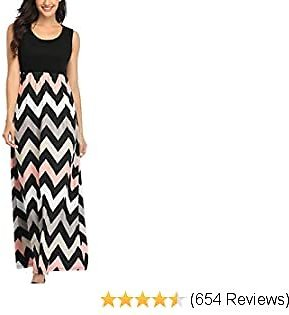 Lacavocor Womens Summer Maxi Dress Tank Top Casual Sleeveless Long Dresses with Striped Floral Print