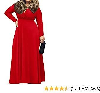 POSESHE Women's Solid V-Neck Long Sleeve Plus Size Evening Party Maxi Dress