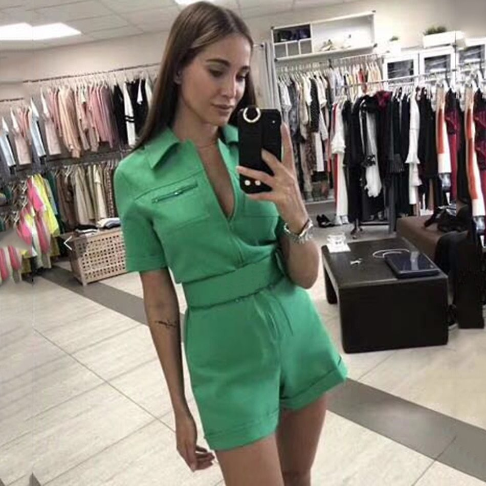 Women'S Short Sleeve Fashion Multi-Pocket Design Was Thin Belt Jumpsuit Pink Green Bodycon Club Party Jumpsuit