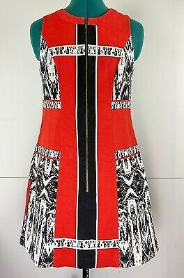 Cue Dress Red White Black Graphic With Pockets! European Fabric Corporate Size 8