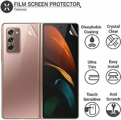 Samsung Galaxy Z Fold 2 Front and Back Screen Protectors Case Friendly Hydrogel