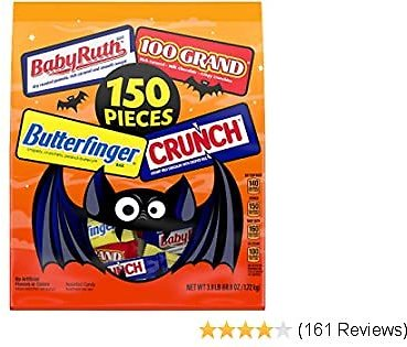 Assorted Bulk Chocolatey Halloween Candy Bag, Mini and Fun Size Mix of Butterfinger, Crunch & Baby Ruth, Individually Wrapped Candy for Trick or Treat Bags, 60.8 Ounce (150ct)