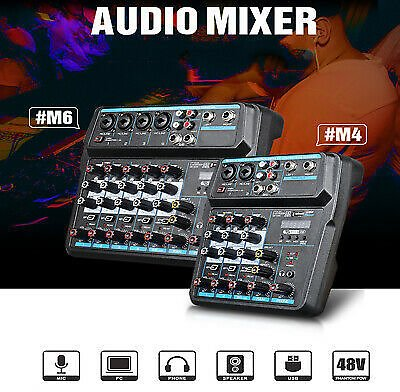 6 Channels Sound Mixing Mixer USB Audio DJ Console Live Recording Musical Mixer