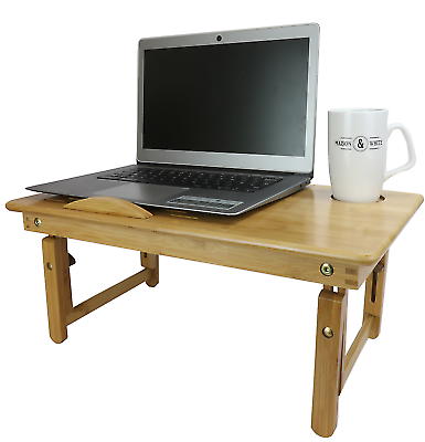 Bamboo Folding Laptop Stand Wood Bed Desk Bed Table Breakfast Tray M&W