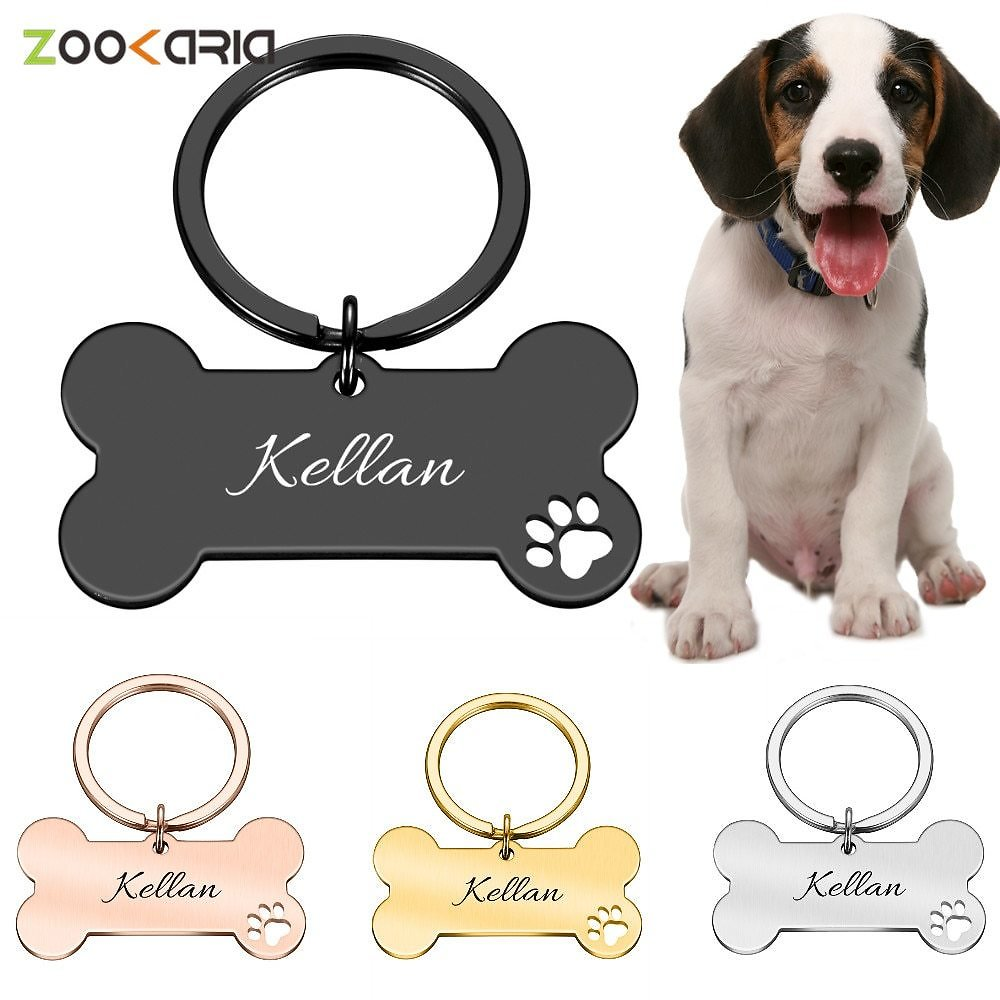 US $2.0 30% OFF|Personalized Collar Pet ID Tag Engraved Pet ID Name for Cat Puppy Dog Tag Pendant Keyring Bone Pet Accessories|ID Tags| - AliExpress