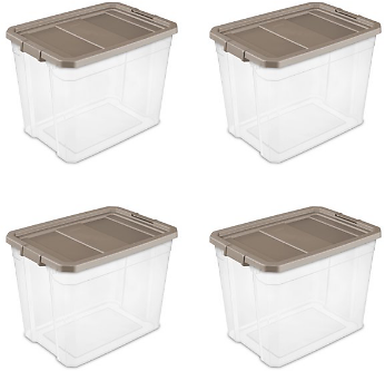 Sterilite 108 Qt. Stacker Box Taupe Splash Set of 4