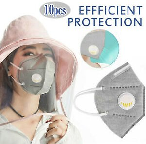 10pcs Protection Face Mask PM2.5 Breathable Mouth Cycling With Valve Unisex Mask