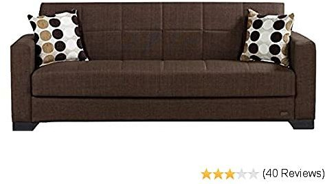 BEYAN Vermont Modern Chenille Fabric Upholstered Convertible Sofa Bed with Storage, 84