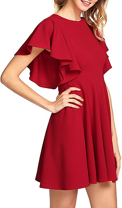 Romwe Top Women's Stretchy A Line Swing Flared Skater Cocktail Party Dress