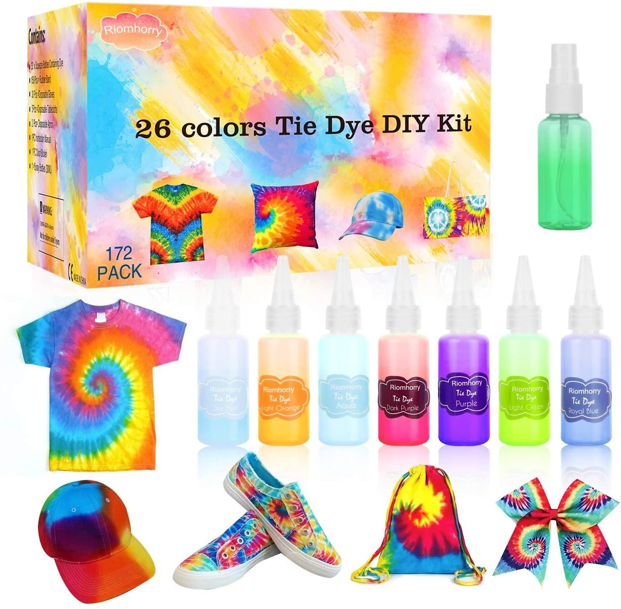 Riomhorry Tie Dye Kits, 26 Colors Tie Dye DIY- Kit for Kids, Women, Party Fabric Dye with Gloves, Aprons, Rubber Bands and Plastic Table Covers