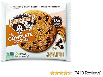 Lenny & Larry's The Complete Cookie, Peanut Butter Chocolate Chip, Soft Baked, 16g Plant Protein, Vegan, Non-GMO, 4 Ounce Cookie (Pack of 12)