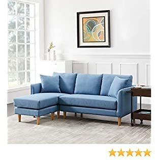 SLEERWAY Couch with Ottoman, Convertible Sofa Set for Living Room, Fabric L Shape Couch with Reversible Chaise, 2 Pillows