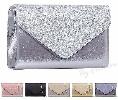 New Glitter Sparkle Wedding Ladies Party Prom Evening Clutch Hand Bag Purse