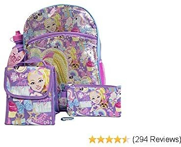 JoJo Siwa Backpack 5 Pc. Set for Girls, 16 In. Sequin Backpack W/JoJo Lunch Bag & Pencil Case