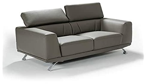 Limari Home Natalya Collection Modern Style Eco-Leather Upholstered Living Room Loveseat With Adjustable Headrests & Metal Legs, Dark Grey