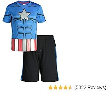 Marvel Avengers Black Panther Spiderman Hulk Boys' Athletic T-Shirt & Mesh Shorts Set