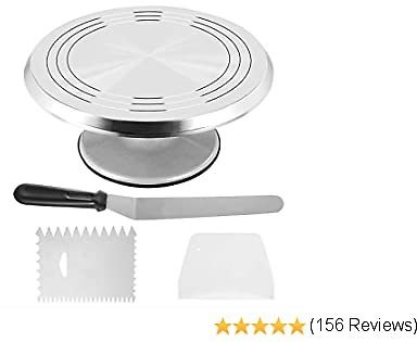 CHIYAN Cake Stand, Aluminum Cake Revolving Turnable 12'' Stand Cake Decoration with Icing Spatula and Comb Icing Smoother, Baking Cake Decoration Supplies
