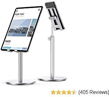 LISEN Tablet Stand, Upgraded Stable IPad Stand Holder All Aluminum Alloy, Angle Height Adjustable IPad Holder for Desk Case Friendly for 4.7