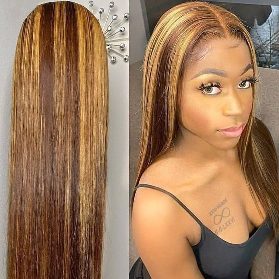 Highlight Wig Human Hair 613 Frontal 13x1 Lace Front Ombre Blonde Brown Wigs Short Bob Straight Brazilian 30 Inch Lace Part Wigs