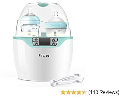 Firares Upgrade Quicker Steam Heating Baby Bottle Warmer, Accurate Temperature Control Universal Bottle Warmer for Breast Milk, 6-in-1 Baby Food Defrost Heater with LCD Display