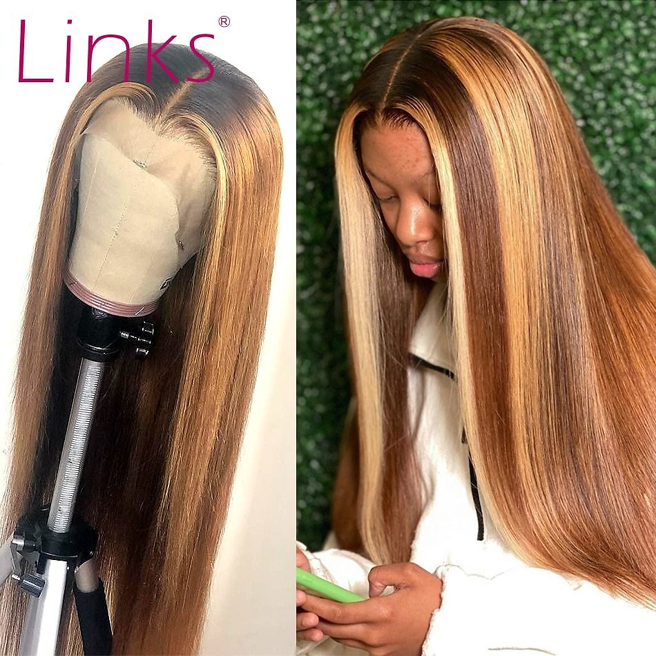 Lace Front Human Hair Wigs For Women Straight Brazilian Remy Highlight Ombre 27 Brown Frontal Wig Pre Plucked