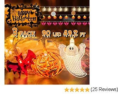 Abida Halloween String Lights, Set of 3 Halloween Lights Total 90 LED 49.2 FT Battery Operated Pumpkin Bat Ghost Decorations Lights for Outdoor Indoor Halloween Decor