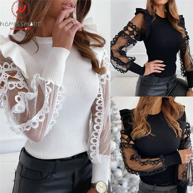 Fashion Women Spring Autumn T-Shirts Mesh Patchwork Design Lace Ruffles Decor See Through O-Neck Long Sleeve Solid Pullovers Top
