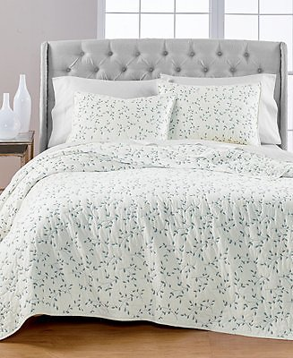 Martha Stewart Collection Embroidered Leaves Reversible Twin/Twin XL Quilt, Created for Macy's & Reviews - Quilts & Bedspreads - Bed & Bath