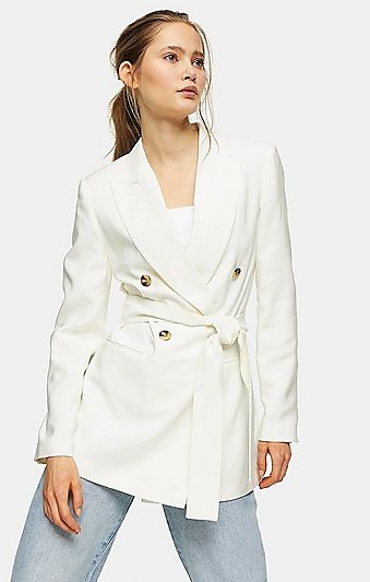 Ivory Belted Double Breasted Blazer