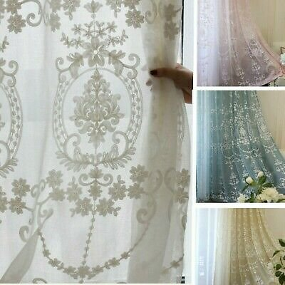 Baroque Embroidery Crochet Curtain Pelmets Lace Tulle Voile Window Panel Fabric