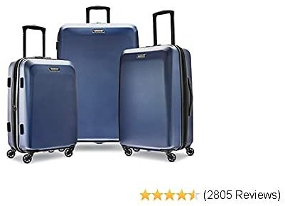 American Tourister Moonlight Hardside Expandable Luggage with Spinner Wheels, Navy, 3-Piece Set (21/24/28)