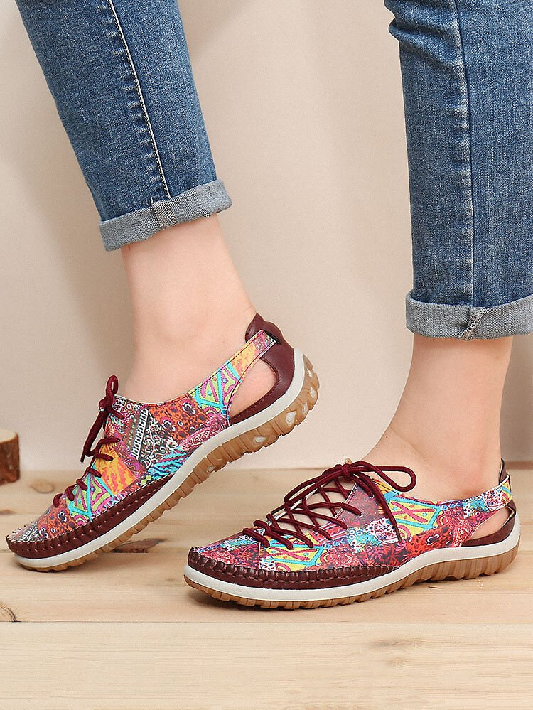 SOCOFY Printing Pattern Splicing Stitching Lace Up Soft Flat Shoes