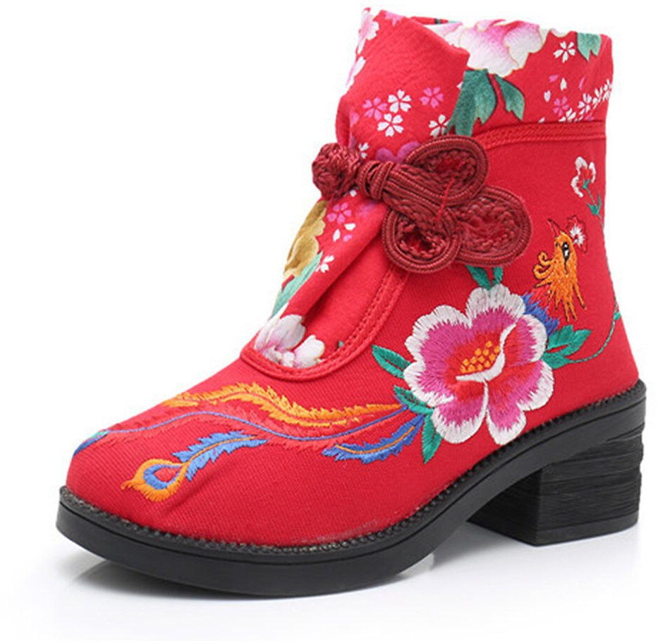 Women Folkways Embroidery Flower Chinese Knot Buckle Canvas Chunky Heel Ankle Boots