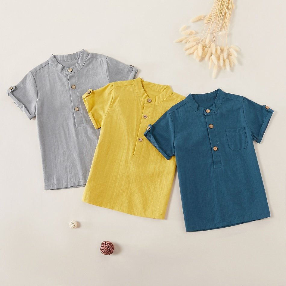 Fashionable Solid Stand Collar Short-sleeved Shirts
