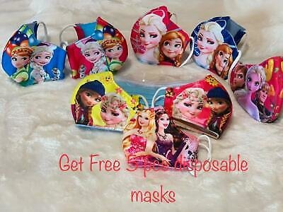2-5 PACK CHILD KIDS FACE MASK WASHABLE & REUSABLE FROZEN, Girls 3 - 8 Year Old