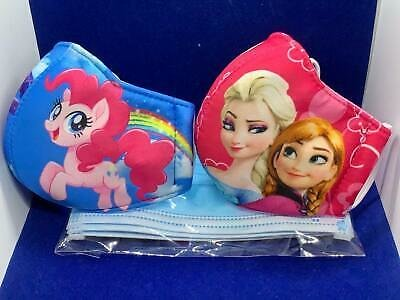 PACK 2 PCS KIDS FACE MASK WASHABLE & REUSABLE Frozen/Pony Girls 2 - 5 Year Old