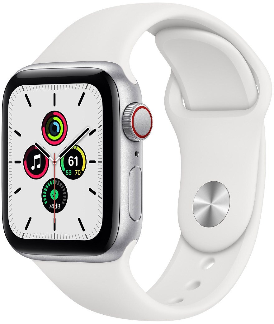 Apple Watch Series 6 GPS + Cellular W/ White Or Blue  Sport Band - 40mm - Silver