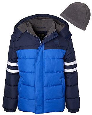Big Boys Color block Puffer with Stripe and Fleece Hat
