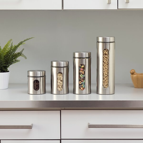 Wayfair Basics Piece Stainless Steel Kitchen Canister Set