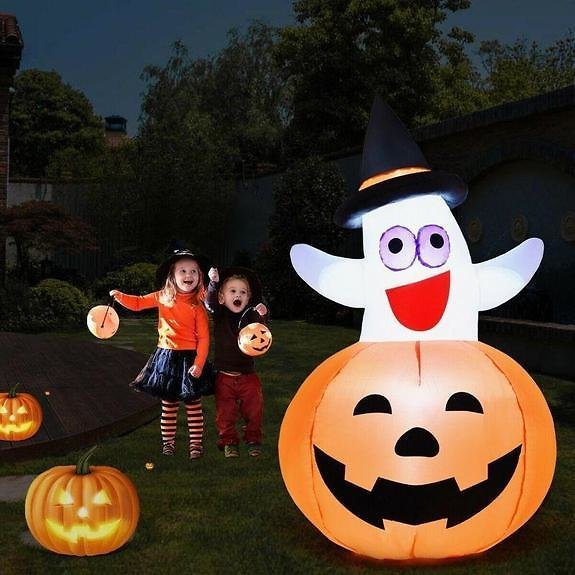 5 Feet Halloween Blow-up Inflatable Ghost with LED Bulb