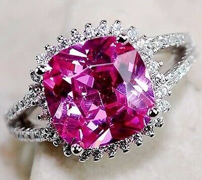 SALE 4CT Pink Sapphire & Topaz 925 Solid Sterling Silver Ring Jewelry Sz 7 PR12