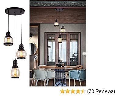 Weesalife Pendant Light with Tawny Glass Jar Shade Matte Black 3-Lights Adjustable Hanging Lighting Fixture, Industrial Antique Pendant Lamp for Kitchen Island, Dining Room, Foyer, Farmhouse