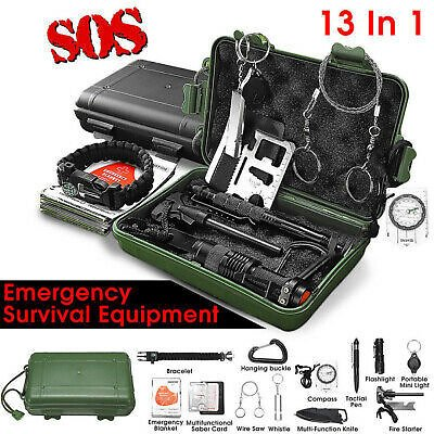 13 in 1 Emergency Camping Survival Equipment Kit Outdoor Tactical Gear Tool