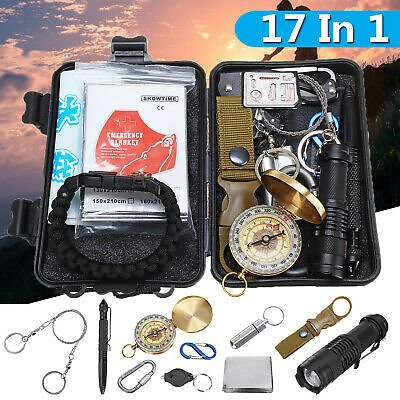 17pcs SOS Emergency Camping Hiking Survival Equipment Kit Outdoor Gear //O