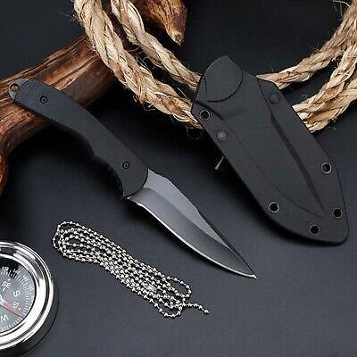 Fixed Blade Straight Tactical Military Pocket Hunting Outdoor Knife With Sheath