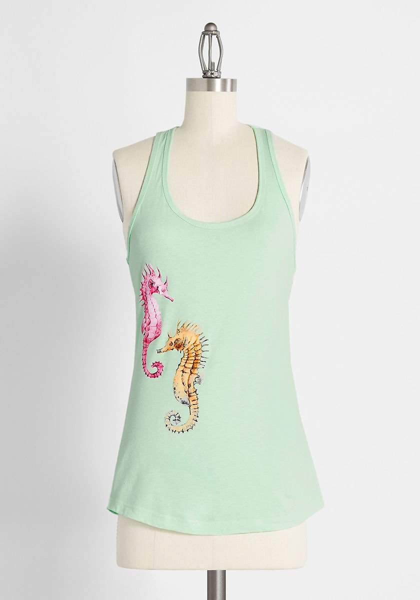 Seahorse Power Graphic Tank Top